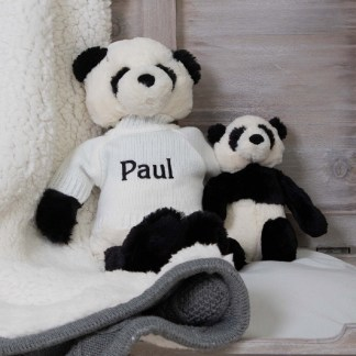 Personalised Jellycat Black and White Bashful Panda