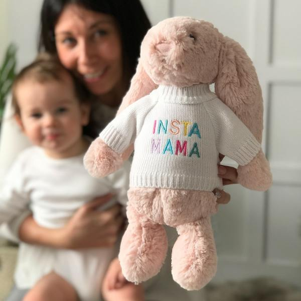 Jellycat bashful bunny soft toy with 'Insta Mama' jumper