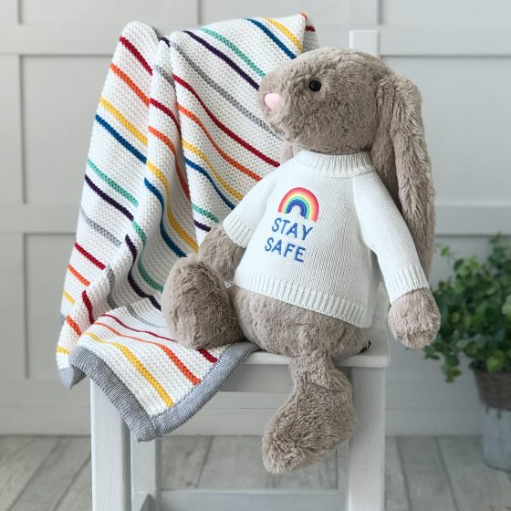 Jellycat large bashful bunny soft toy with 'Stay Safe' jumper in Beige