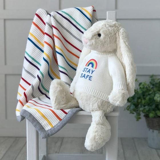 Jellycat large bashful bunny soft toy with 'Stay Safe' jumper in Cream