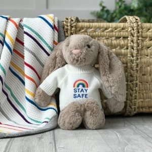 Jellycat medium bashful bunny soft toy with 'Stay Safe' jumper in Beige