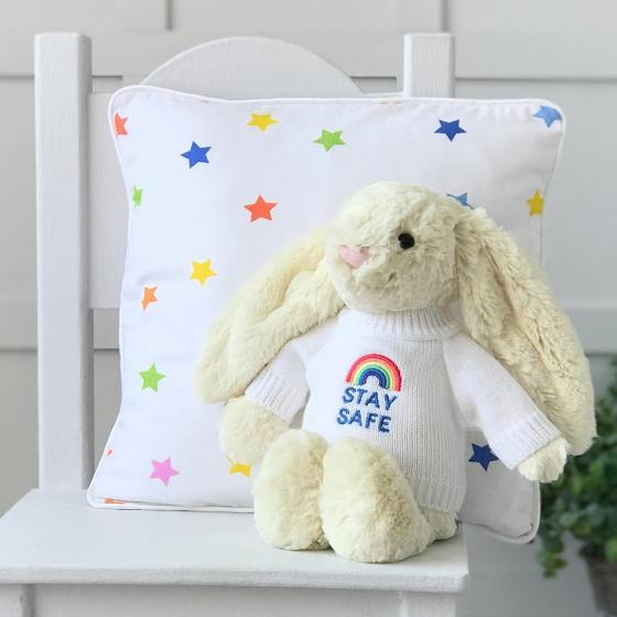 Jellycat medium bashful bunny soft toy with 'Stay Safe' jumper in Buttermilk