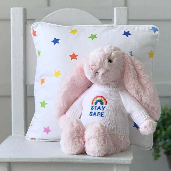 Jellycat medium bashful bunny soft toy with 'Stay Safe' jumper in Pale Pink