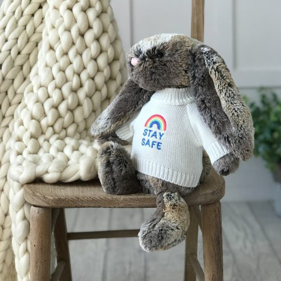 Jellycat medium bashful bunny soft toy with 'Stay Safe' jumper in Cottontail