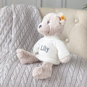 Personalised Steiff bearzy beige teddy bear soft toy