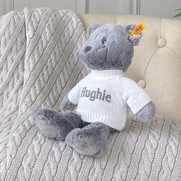 Personalised Steiff bearzy grey teddy bear soft toy