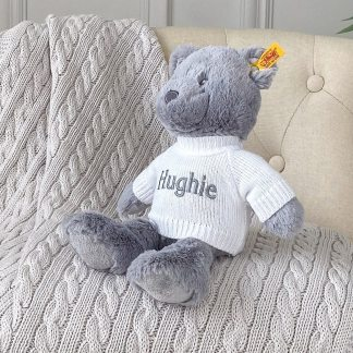 Personalised Steiff bearzy grey teddy bear soft toy