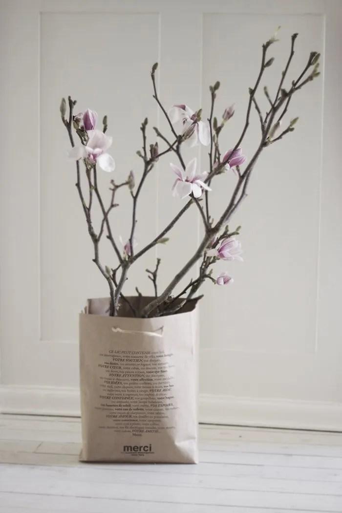 merci paper bag reuse planter interior