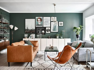 green walls home interior retro scandinavian