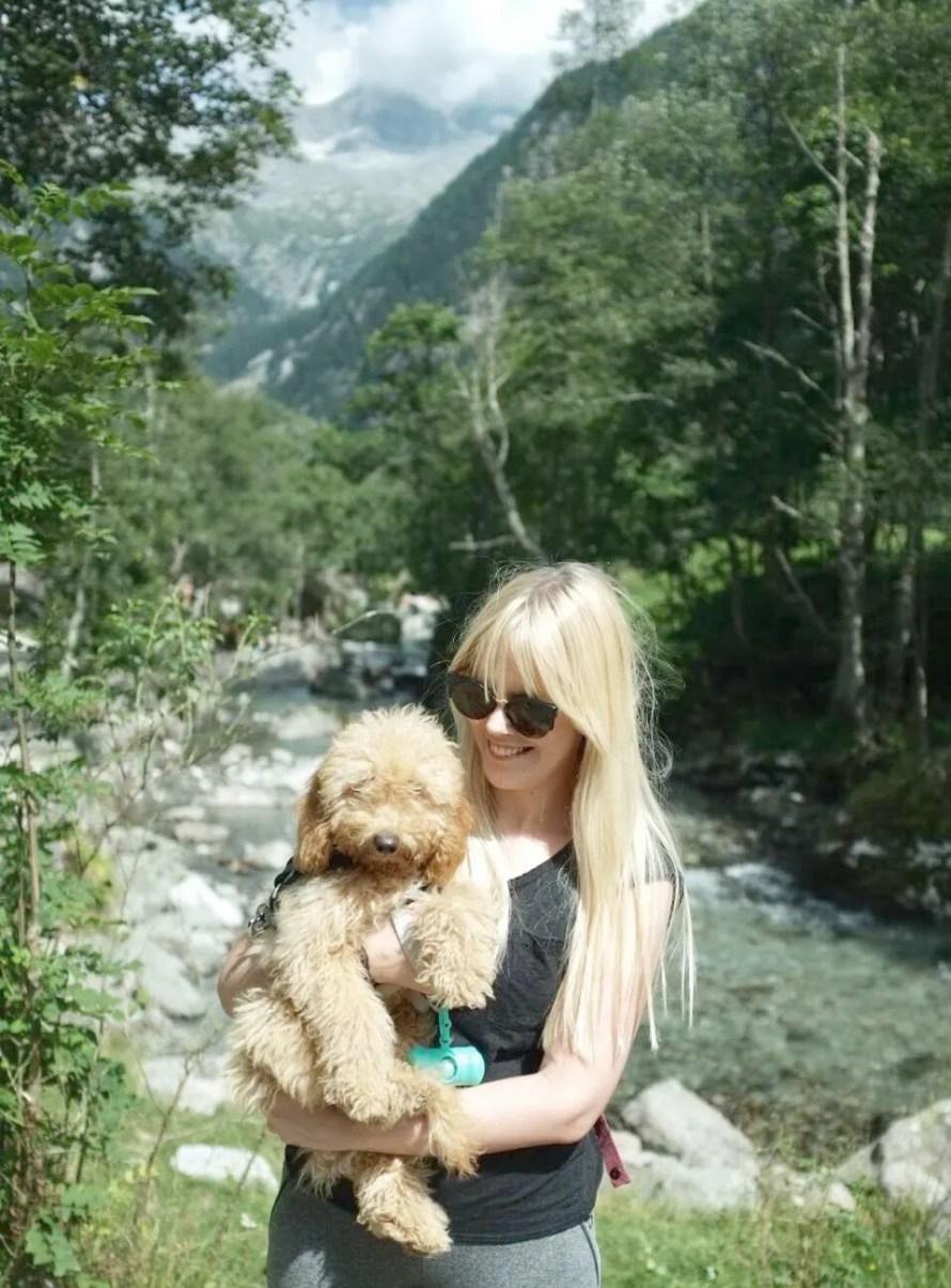 hiking alps italy scandinavian feeling girl dog