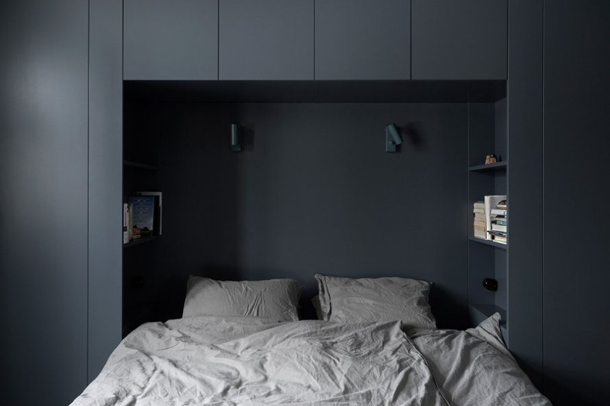 dark moody house swedish bed