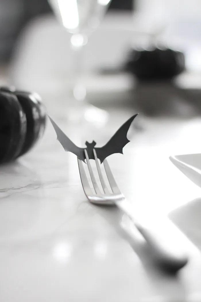 minimal halloween bat fork DIY