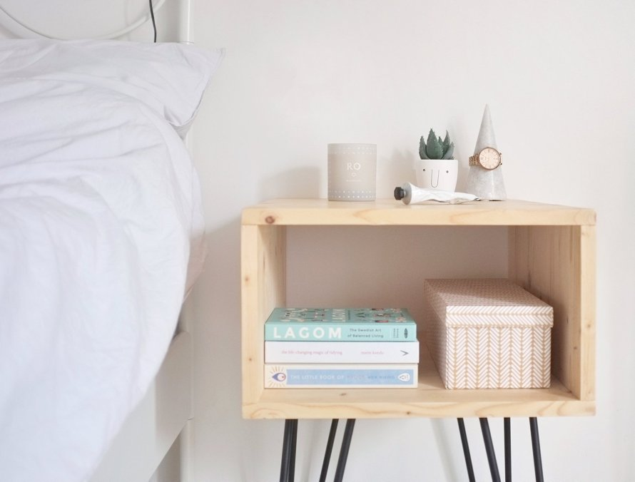 diy interior nightstand hairpinlegs bedroom
