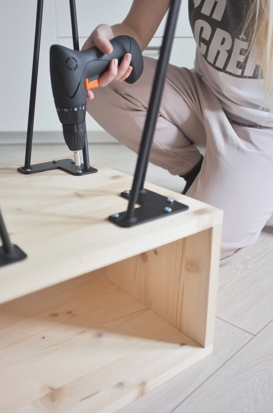 diy interior nightstand hairpinlegs drill