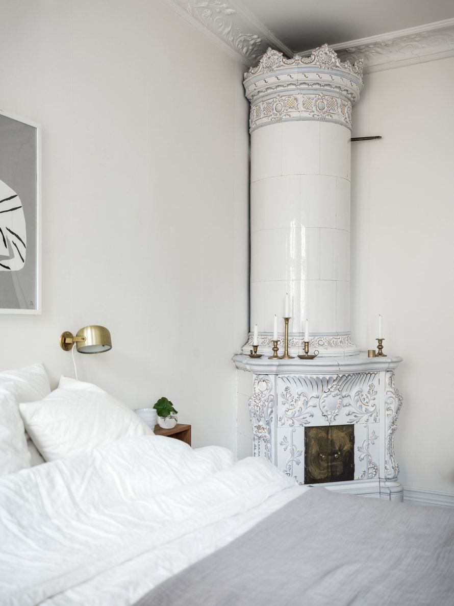 bedroom cozy hygge fireplace