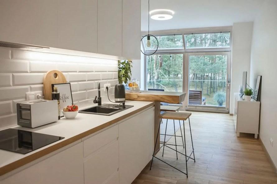scandinavian apartment lithuania airbnb kitchen