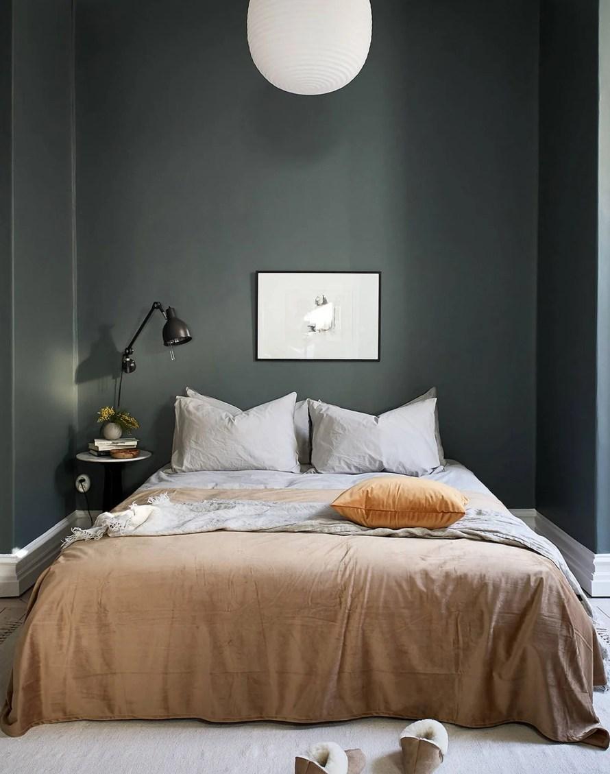 dark green bed calm cozy scandinavian