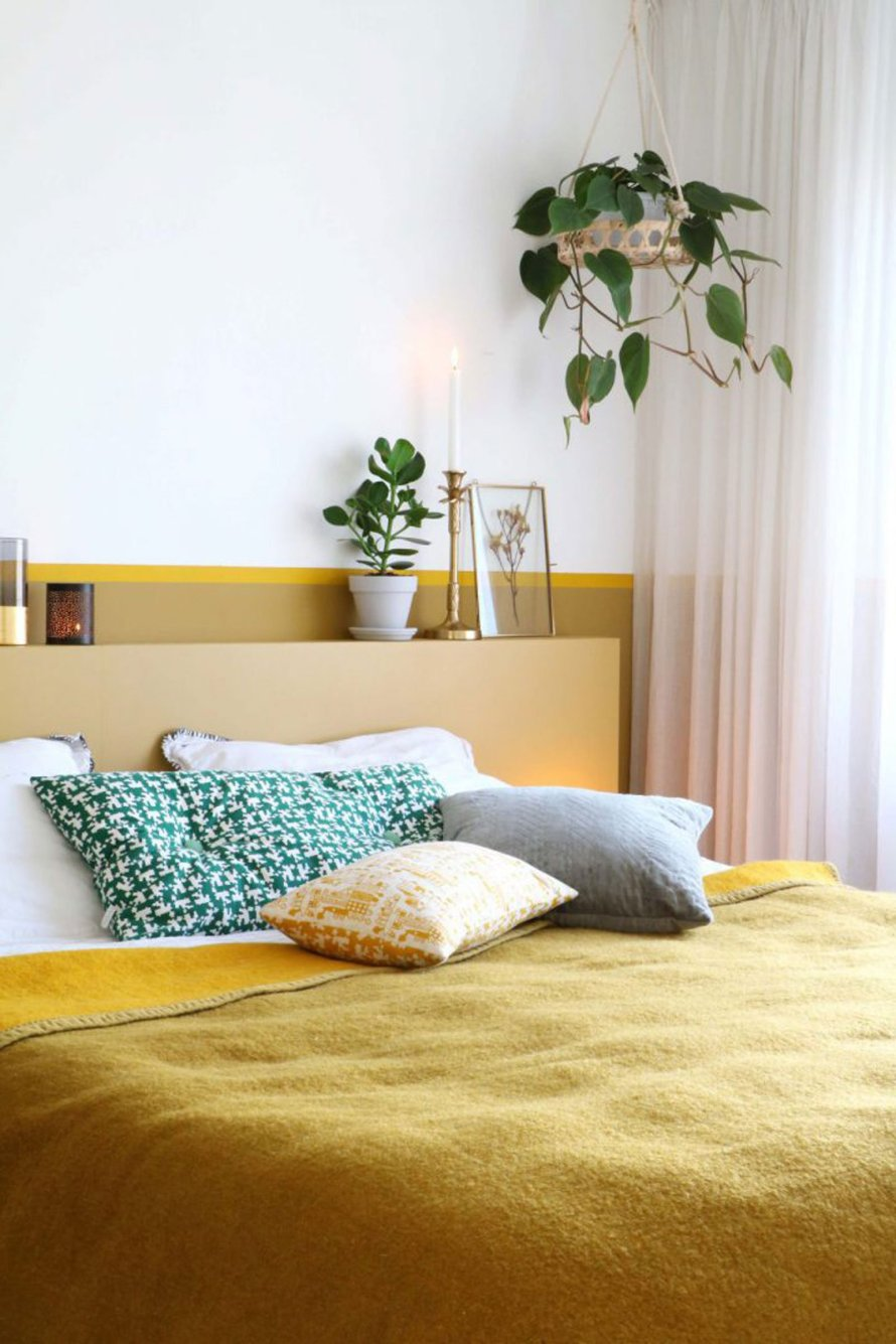 mustard yellow bed calm hygge nordic