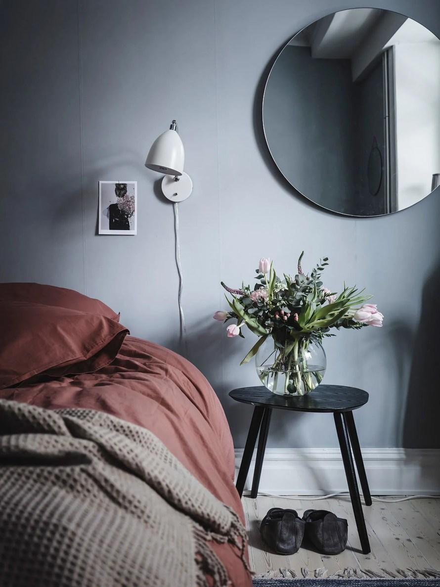 soft blue bed calm cozy scandinavian