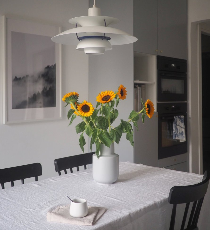 kitchen sunflowers interior scandinavian hygge lifestyle