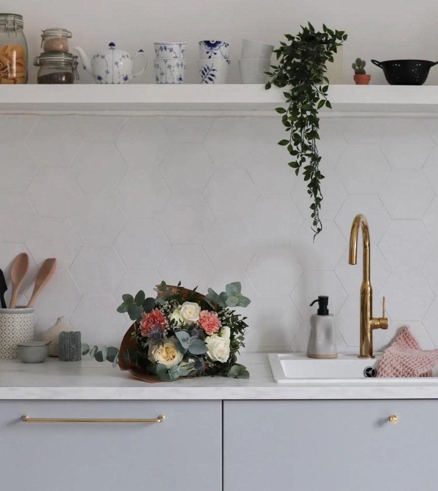 scandinavian feeling valentines flowers kitchen