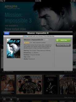 Amazon Instant Video iPad App - Movie Description