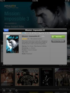 Amazon Instant Video iPad App - Movie Description