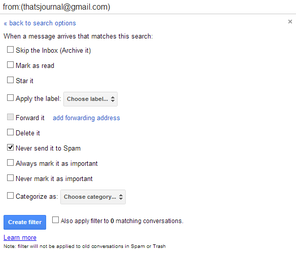 Add email address to whitelist in Gmail
