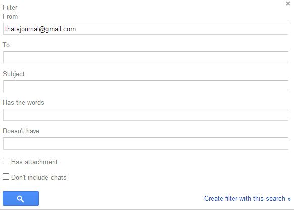 Create Filter with this search in Gmail