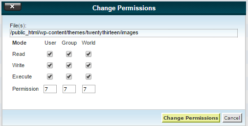 Change file permissions for file, folder from cPanel