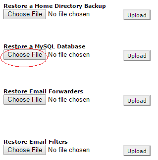 Click on Choose File under Restore a MySQL Database