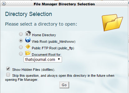 File manager directory selection in cPanel