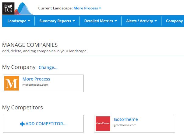 Add a competitor or a company in RivalIQ