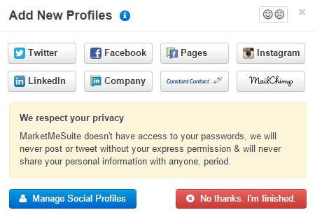 Add a social media profile in MarketMeSuite