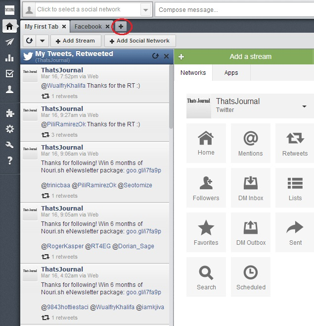 Add a tab in HootSuite dashboard