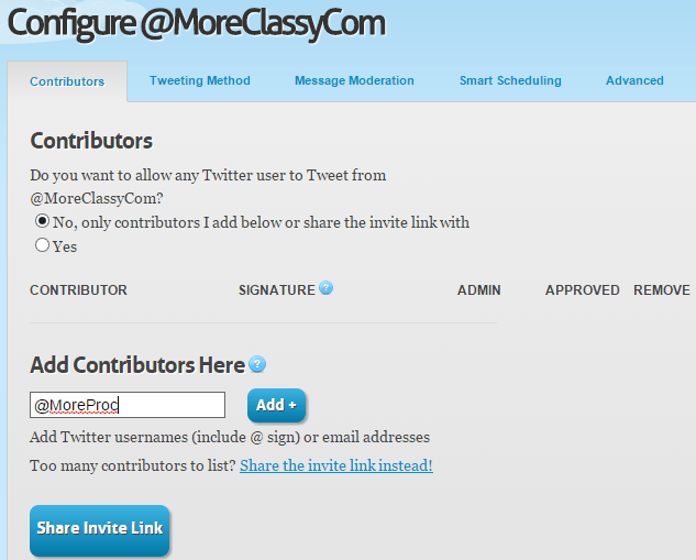 Add users to send tweets to your Twitter account in GroupTweet