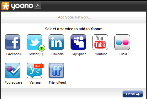 Add social media accounts in Yoono desktop app