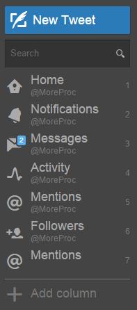 Click on Add column in TweetDeck