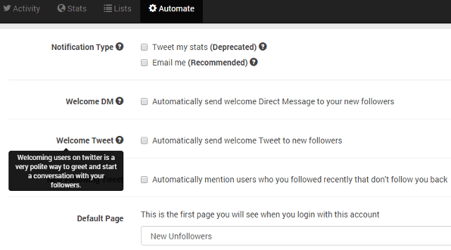 Click on Automate menu, check option Welcome Tweet in Unfollowers