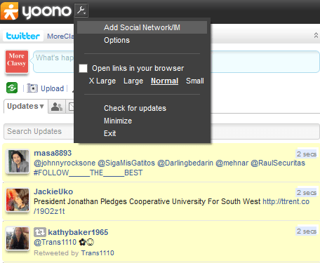 Click on Settings, Add Social Network in Yoono
