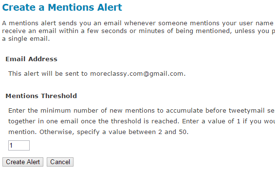 Create Twitter alerts when someone mentions you