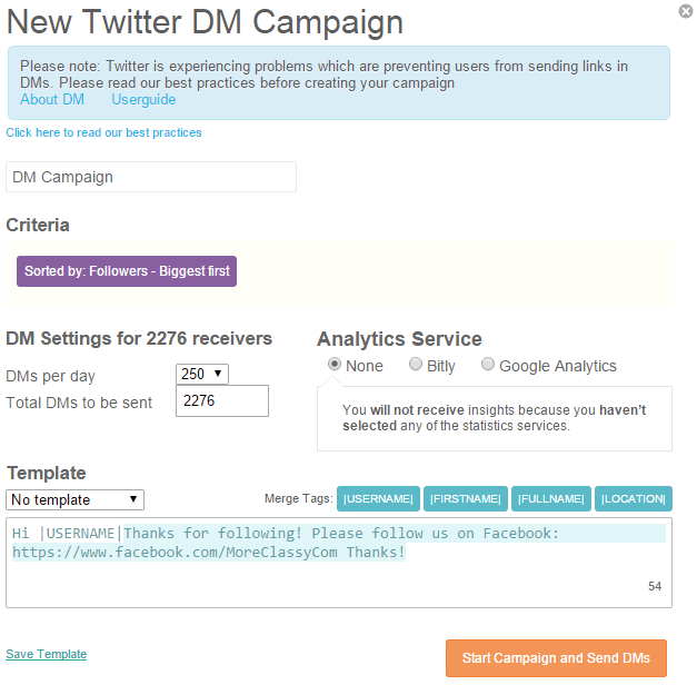 Create a direct message campaign in SocialBro