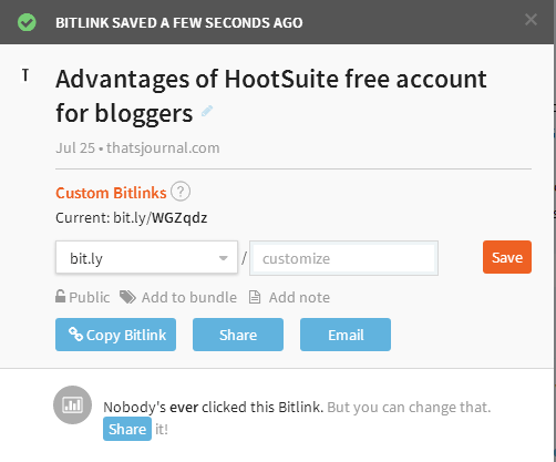 Create short URL in Bitly