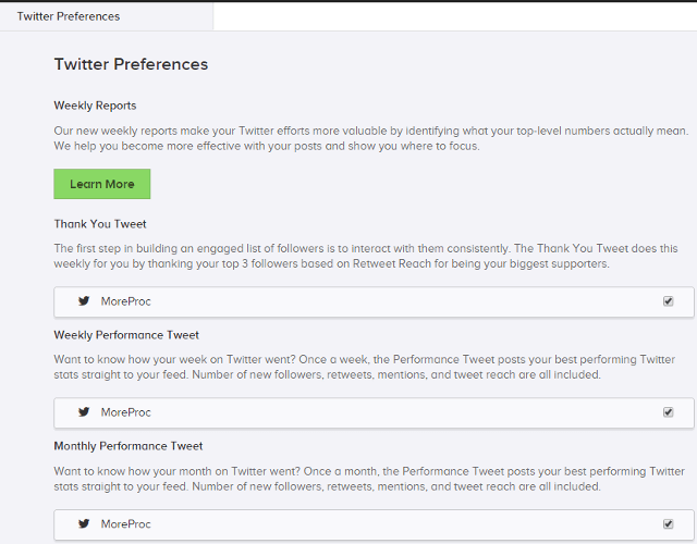 Edit Twitter preferences in SumAll