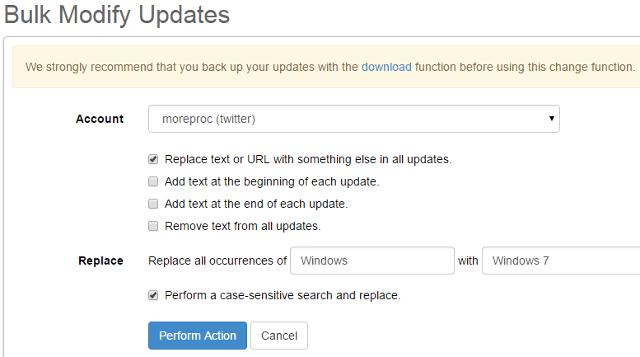 Edit posts in bulk in SocialOomph