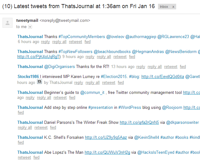 Email displaying latest tweets from your friends