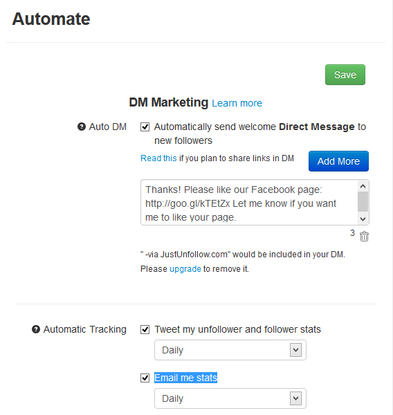 Enable DMs, automatic stats tweets, email alerts in JustUnfollow