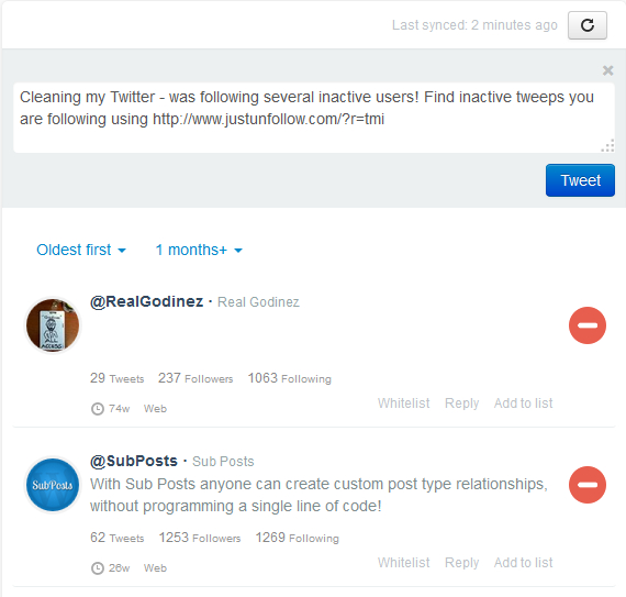 Find inactive Twitter members in JustUnfollow