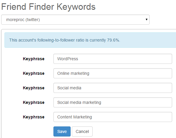 Follow relevant members by keywords using SocialOomph