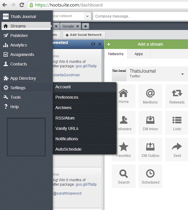Go to Settings, Account in left menu in HootSuite dashboard